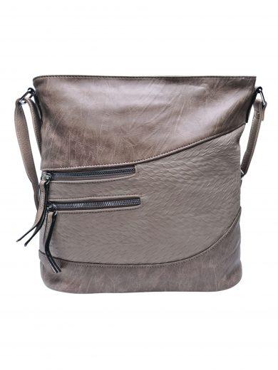 Střední crossbody kabelka s líbivou texturou, Tapple, H17360, světle hnědá, přední strana crossbody kabelky