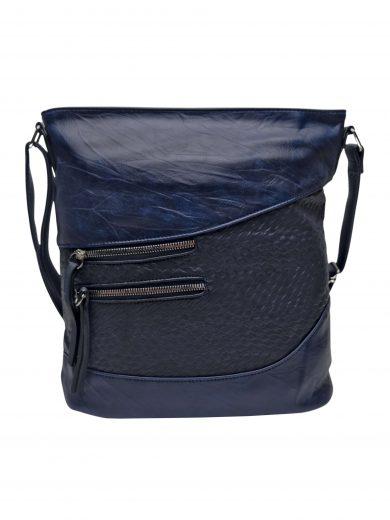 Střední crossbody kabelka s líbivou texturou, Tapple, H17360, tmavě modrá, přední strana crossbody kabelky