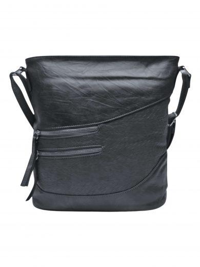 Střední crossbody kabelka s líbivou texturou, Tapple, H17360, tmavě šedá, přední strana crossbody kabelky