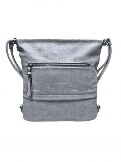 Střední kabelko-batoh 2v1 s praktickou kapsou, Tapple, H190062, světle šedý, přední strana kabelko-batohu