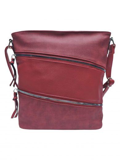 Crossbody kabelka se stylovými šikmými kapsami, Tapple, H18007, bordó, přední strana crossbody kabelky