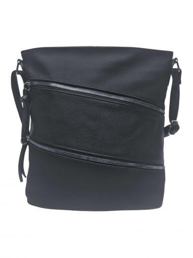 Crossbody kabelka se stylovými šikmými kapsami, Tapple, H18007, černá, přední strana crossbody kabelky