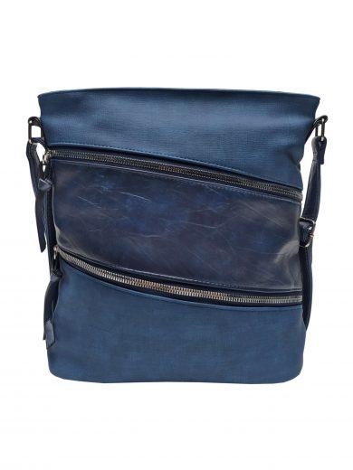 Crossbody kabelka se stylovými šikmými kapsami, Tapple, H18007, středně modrá, přední strana crossbody kabelky