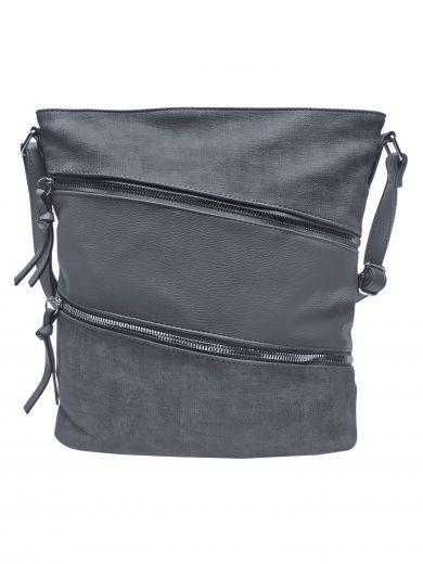 Crossbody kabelka se stylovými šikmými kapsami, Tapple, H18007, středně šedá, přední strana crossbody kabelky