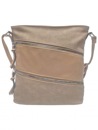Crossbody kabelka se stylovými šikmými kapsami, Tapple, H18007, světle hnědá, přední strana crossbody kabelky