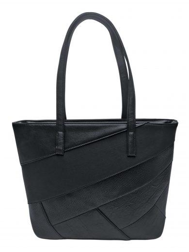 Dámská kabelka přes rameno s šikmými vzory, Tapple, H190030, černá, přední strana kabelky přes rameno