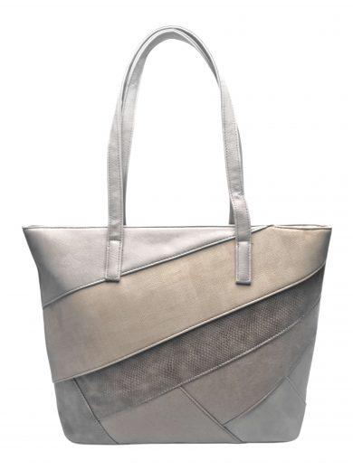 Dámská kabelka přes rameno s šikmými vzory, Tapple, H190030, světle hnědá, přední strana kabelky přes rameno