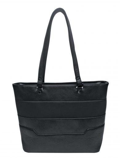 Dámská kabelka přes rameno se slušivými vzory, Tapple, H190049, černá, přední strana kabelky přes rameno