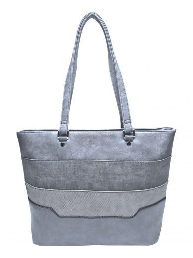 Dámská kabelka přes rameno se slušivými vzory, Tapple, H190049, středně šedá, přední strana kabelky přes rameno