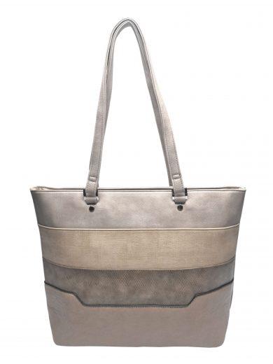Dámská kabelka přes rameno se slušivými vzory, Tapple, H190049, světle hnědá, přední strana kabelky přes rameno