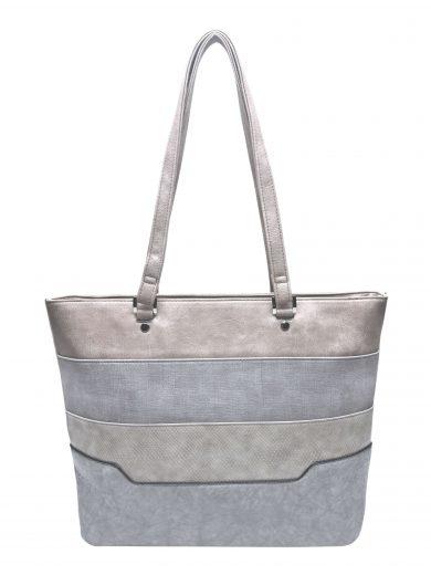 Dámská kabelka přes rameno se slušivými vzory, Tapple, H190049, světle šedá, přední strana kabelky přes rameno