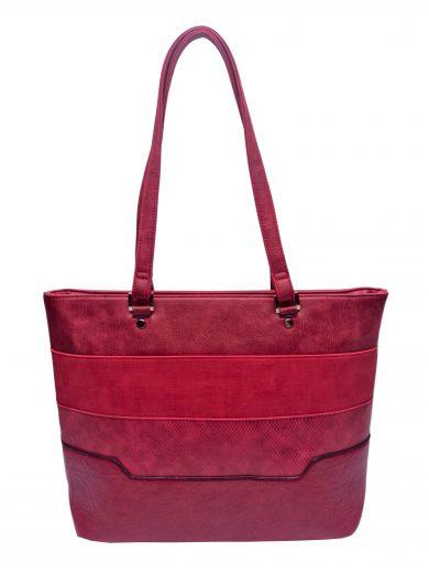 Dámská kabelka přes rameno se slušivými vzory, Tapple, H190049, tmavě červená, přední strana kabelky přes rameno