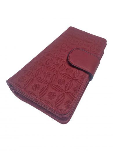 Dámská peněženka ze slušivé vzorované eko kůže, New Berry, YX-103, bordó, přední strana dámské peněženky