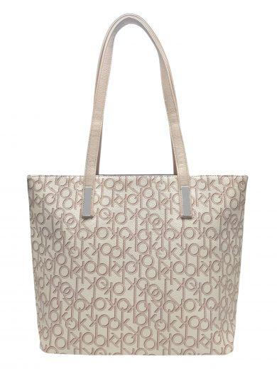 Stylová dámská kabelka přes rameno, Tapple, H181181-2, perleťově bílá, přední strana kabelky přes rameno