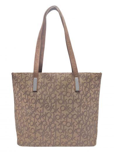 Stylová dámská kabelka přes rameno, Tapple, H181181-2, středně hnědá, přední strana kabelky přes rameno
