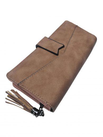 Stylová dámská peněženka z broušené eko kůže, New Berry, DX-11, středně hnědá, přední strana peněženky