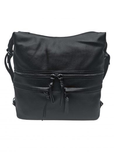 Velký dámský kabelko-batoh s praktickými kapsami, Tapple, H181175N2, černý, přední strana kabelko-batohu