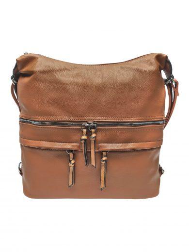 Velký dámský kabelko-batoh s praktickými kapsami, Tapple, H181175N2, středně hnědý, přední strana kabelko-batohu