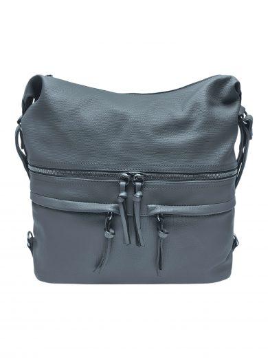 Velký dámský kabelko-batoh s praktickými kapsami, Tapple, H181175N2, středně šedý, přední strana kabelko-batohu