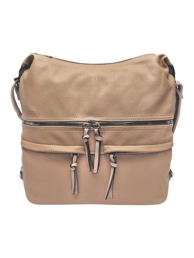 Velký dámský kabelko-batoh s praktickými kapsami, Tapple, H181175N2, světle hnědý, přední strana kabelko-batohu