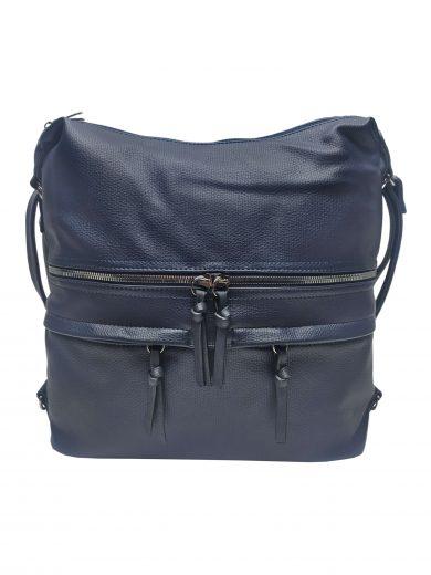 Velký dámský kabelko-batoh s praktickými kapsami, Tapple, H181175N2, tmavě modrý, přední strana kabelko-batohu