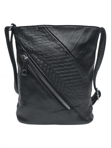 Mini crossbody kabelka se stylovou šikmou kapsou, Tapple, H17448, černá, přední strana crossbody kabelky