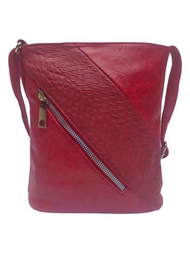 Mini crossbody kabelka se stylovou šikmou kapsou, Tapple, H17448, tmavě červená, přední strana crossbody kabelky