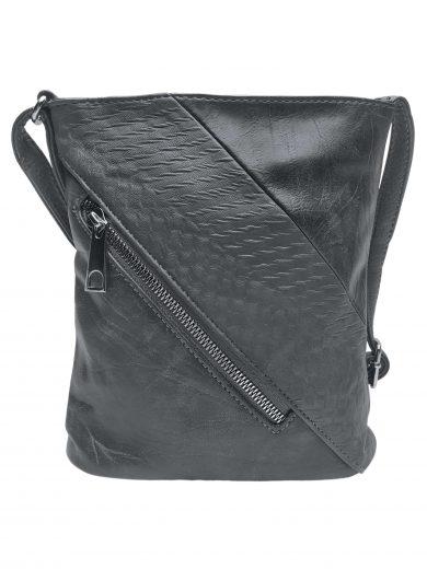 Mini crossbody kabelka se stylovou šikmou kapsou, Tapple, H17448, tmavě šedá, přední strana crossbody kabelky