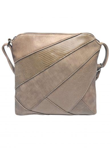 Stylová crossbody kabelka s variací šikmých vzorů, Tapple, H17381, světle hnědá, přední strana crossbody kabelky