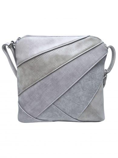 Stylová crossbody kabelka s variací šikmých vzorů, Tapple, H17381, světle šedá, přední strana crossbody kabelky