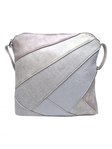 Stylová crossbody kabelka s variací šikmých vzorů, Tapple, H17381, světle šedohnědá, přední strana crossbody kabelky