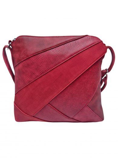 Stylová crossbody kabelka s variací šikmých vzorů, Tapple, H17381, tmavě červená, přední strana crossbody kabelky