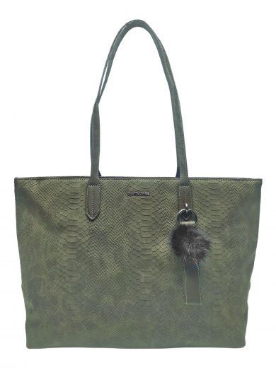 Velká dámská kabelka s elegantním hadím vzorem, David Jones. CM3538, hnědozelená/khaki, přední strana kabelky přes rameno