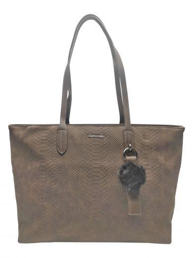 Velká dámská kabelka s elegantním hadím vzorem, David Jones. CM3538, středně hnědá, přední strana kabelky přes rameno