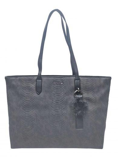 Velká dámská kabelka s elegantním hadím vzorem, David Jones. CM3538, tmavě šedá, přední strana kabelky přes rameno
