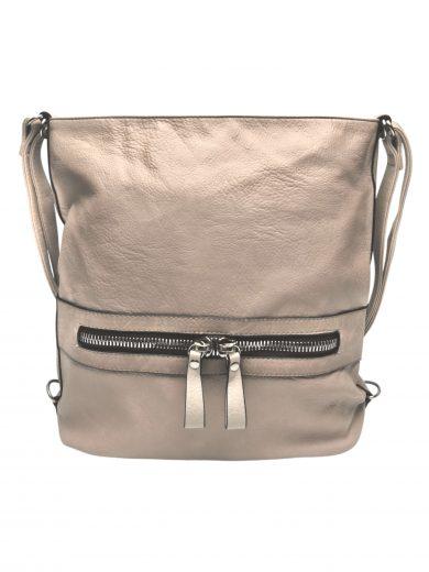 Velký dámský kabelko-batoh 2v1 z eko kůže, Tapple, H20805, béžový, přední strana kabelko-batohu 2v1