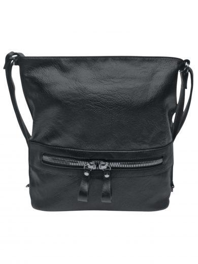 Velký dámský kabelko-batoh 2v1 z eko kůže, Tapple, H20805, černý, přední strana kabelko-batohu 2v1