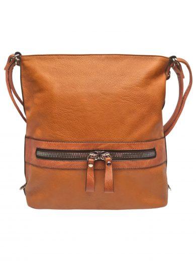 Velký dámský kabelko-batoh 2v1 z eko kůže, Tapple, H20805, středně hnědý, přední strana kabelko-batohu 2v1