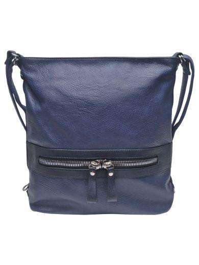 Velký dámský kabelko-batoh 2v1 z eko kůže, Tapple, H20805, středně modrý, přední strana kabelko-batohu 2v1