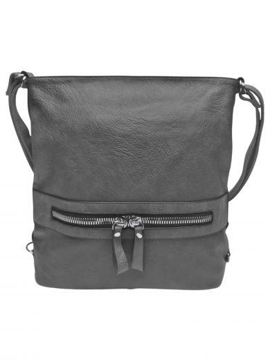 Velký dámský kabelko-batoh 2v1 z eko kůže, Tapple, H20805, středně šedý, přední strana kabelko-batohu 2v1
