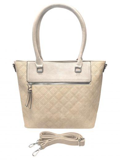 Elegantní kabelka s kosočtvercovým vzorem, Tapple, H190014, béžová, přední strana kabelky do ruky s popruhem