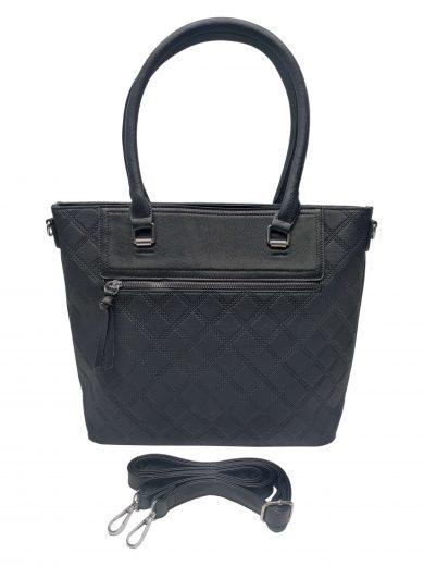 Elegantní kabelka s kosočtvercovým vzorem, Tapple, H190014, černá, přední strana kabelky do ruky s popruhem