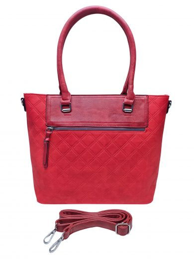 Elegantní kabelka s kosočtvercovým vzorem, Tapple, H190014, červená, přední strana kabelky do ruky s popruhem