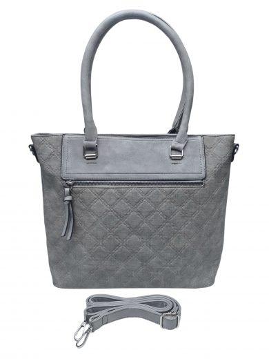 Elegantní kabelka s kosočtvercovým vzorem, Tapple, H190014, středně šedá, přední strana kabelky do ruky s popruhem