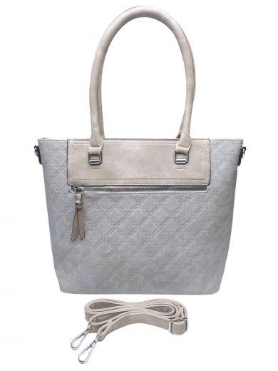 Elegantní kabelka s kosočtvercovým vzorem, Tapple, H190014, světle šedá, přední strana kabelky do ruky s popruhem