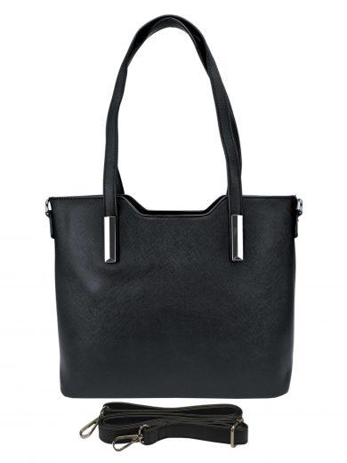 Slušivá dámská kabelka do ruky se stříbrnými detaily, Tapple, H20801, černá, přední strana kabelky do ruky s popruhem
