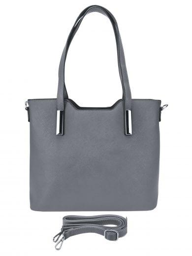 Slušivá dámská kabelka do ruky se stříbrnými detaily, Tapple, H20801, středně šedá, přední strana kabelky do ruky s popruhem