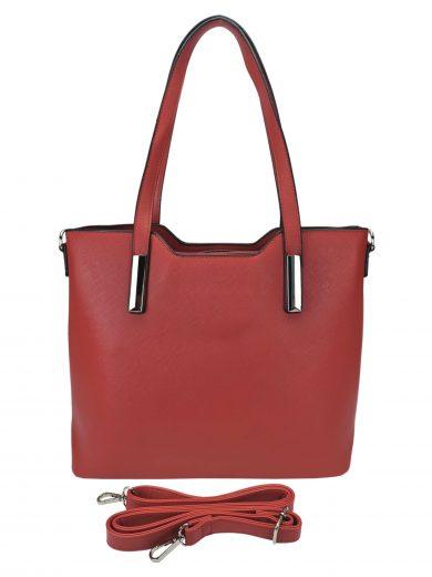 Slušivá dámská kabelka do ruky se stříbrnými detaily, Tapple, H20801, tmavě červená, přední strana kabelky do ruky s popruhem