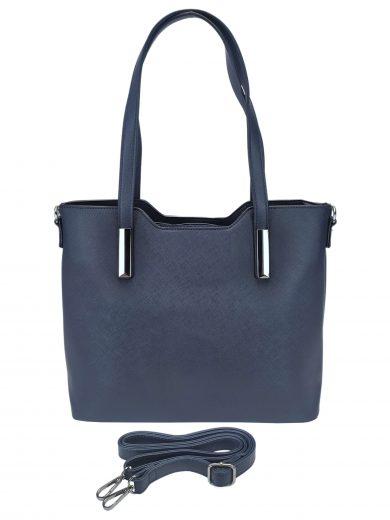 Slušivá dámská kabelka do ruky se stříbrnými detaily, Tapple, H20801, tmavě modrá, přední strana kabelky do ruky s popruhem