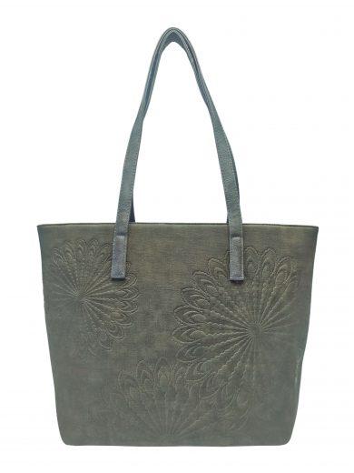 Slušivá dámská kabelka přes rameno s texturou, Tapple, H17409, khaki, přední strana kabelky přes rameno